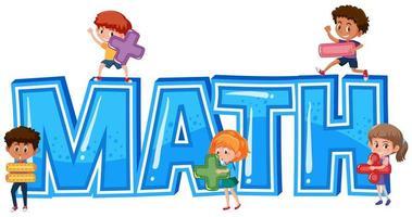 Mot mathématique avec les enfants vecteur