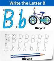 Feuilles de calcul de l'alphabet traçant la lettre B