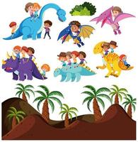 Enfants équitation dinosaure et fond préhistorique
