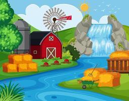 Terres agricoles avec cascade