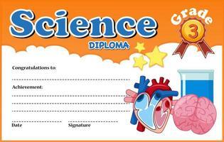 Modèle de certificat de diplôme en sciences