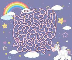 jeux de puzzle un labyrinthe de licorne vecteur