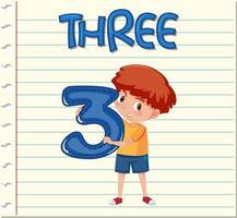 Conception de carte flash avec numéro trois