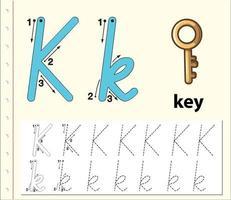 Feuilles de calcul de l'alphabet de traçage de la lettre K vecteur