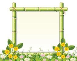Fond de cadre en bambou et fleur vecteur