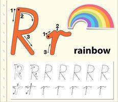 Feuilles de calcul de l'alphabet de traçage de la lettre R vecteur