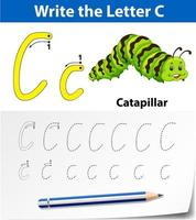 Feuilles de calcul de l'alphabet de traçage de la lettre C vecteur