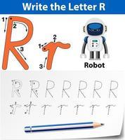 Feuilles de traçage de la lettre R vecteur