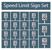 Ensemble de panneaux de limitation de vitesse vecteur