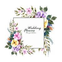 conception de carte de cadre de fleurs d'invitation de mariage vecteur