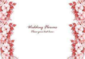 Cadre de fleurs décoratives de mariage avec fond de carte d'invitation vecteur