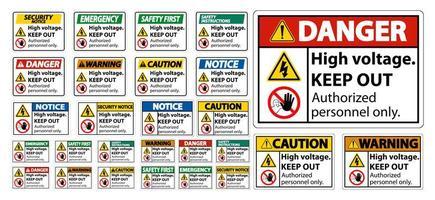 Ensemble de panneaux de signalisation haute tension