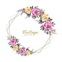 conception de carte de cadre de fleurs d'invitation de mariage