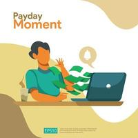 Concept de paie de moment de paiement