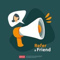 référer un ami illustration concept
