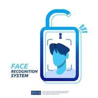 Verrouillage du système de reconnaissance faciale vecteur