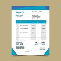 Modèle de facture commerciale à angle bleu