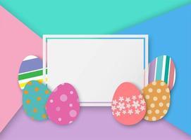Oeufs de Pâques dans un cadre carré vecteur