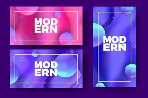 Bannières de dégradé modernes avec des formes 3D colorées