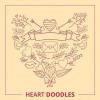 Ensemble de doodles coeur