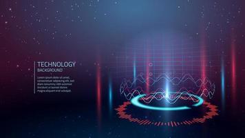 Contexte de la technologie Cyber rouge et bleu vecteur