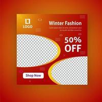 Modèle de publication de médias sociaux de vente de mode d'hiver