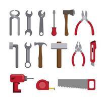 outils, réparation, et, construction, collection, icône, ensemble vecteur