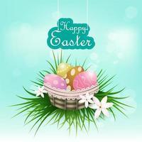 Oeufs dans le panier Fête de Pâques vecteur