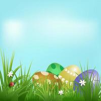 Pile d'oeufs et jour de Pâques coccinelle vecteur