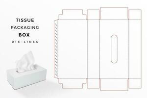 boîte de mouchoirs dieline vecteur