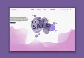 Site Web liquide violet ou page de destination de l'application mobile vecteur