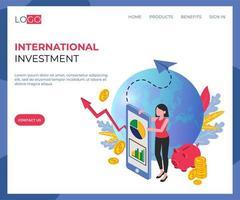Page de destination isométrique des investissements internationaux vecteur
