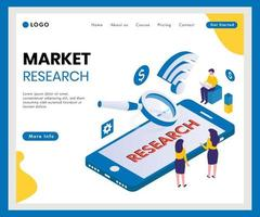 Bannière web isométrique d'études de marché