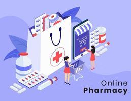 Présentation isométrique de la pharmacie et de la médecine en ligne