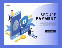 Page de destination isométrique du paiement sécurisé