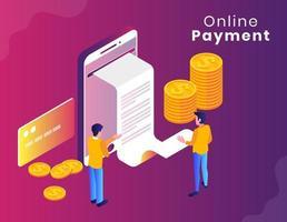 Conception isométrique de paiement en ligne sur dégradé