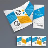 Brochure commerciale avec des formes angulaires bleues et orange