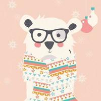 Carte postale de Noël avec ours polaire hipster portant foulard