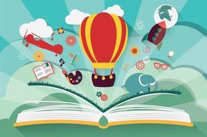Concept d'imagination - livre ouvert avec ballon à air, fusée et avion volant vecteur