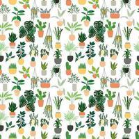 Modèle sans couture avec collection de plantes d'intérieur d'intérieur dessinés vecteur