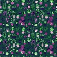 Modèle sans couture avec collection de plantes d'intérieur d'intérieur dessinés à la main