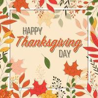 Carte de joyeux Thanksgiving avec éléments floraux