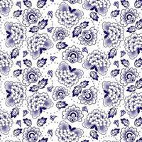 Modèle sans couture floral indigo chinois vecteur