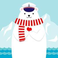 Ours polaire nautique design plat tenant un coeur vecteur