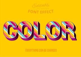 Texte à rayures de couleur, style de texte modifiable vecteur
