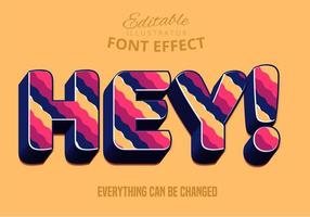 Hey Style de texte modifiable à rayures ondulées vecteur