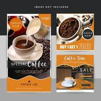 Modèle d'histoire de l'offre de café sur les médias sociaux vecteur
