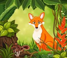 Un mignon renard roux en forêt vecteur