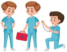 Personnage assistant médical sur fond blanc