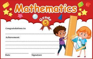 Modèle de certificat de diplôme en mathématiques vecteur